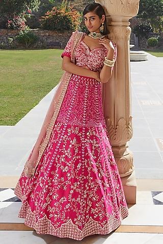 Pink Hand Embroidered Lehenga Set by Mishru