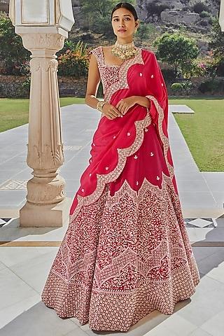 Hot Pink Hand Embroidered Lehenga Set by Mishru