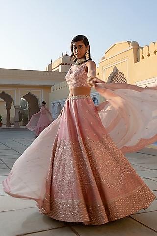 Bright Pink Hand Embroidered Lehenga Set by Mishru