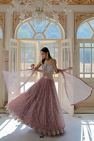 Muted Pink Hand Embroidered Lehenga Set by Mishru