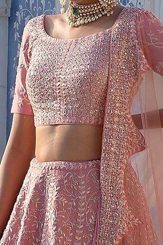 Bright Pink Chintz Hand Embroidered Lehenga Set by Mishru