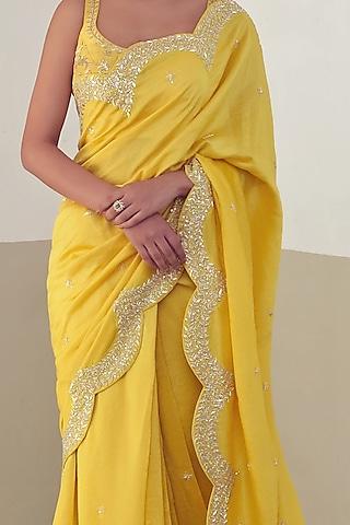Mango Yellow Embroidered Saree Set by Mishru