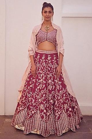 Plum Red Embroidered Bridal Lehenga Set by Mishru