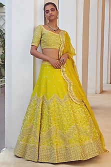 Lime Green Embroidered Bridal Lehenga Set by Mishru