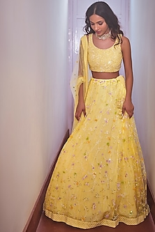 Yellow Embroidered Bridal Lehenga Set by Mishru