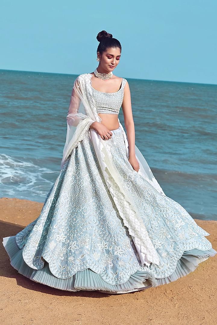 Cloud Blue Hand Embroidered Bridal Lehenga Set by Mishru