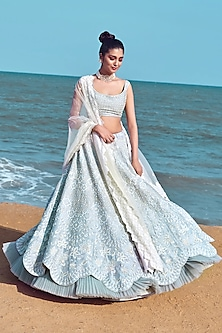 Cloud Blue Hand Embroidered Bridal Lehenga Set by Mishru