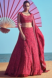 Deep Red Hand Embroidered Bridal Lehenga Set by Mishru