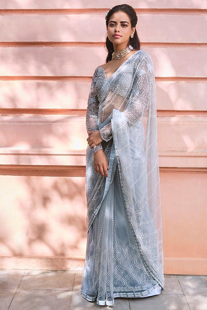 Cloud Blue Embroidered Saree Set by Mishru