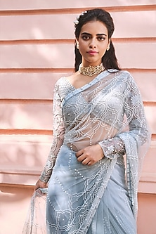 Cloud Blue Embroidered Saree Set by Mishru