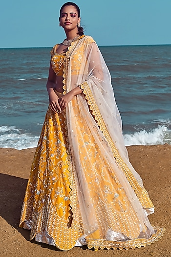 Mango Yellow Sequins Embroidered Bridal Lehenga Set by Mishru