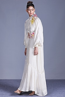 Ivory Dress With Embroidered Belt by Mishru