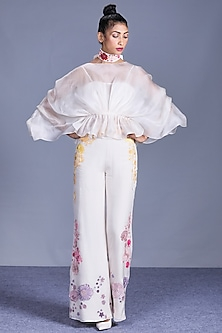 Ivory Sheer Top With Embroidered Pants by Mishru