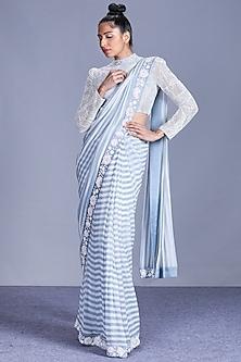 Cloud Blue Printed Saree Set by Mishru-MISHRU