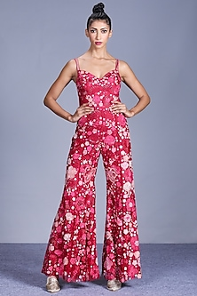 Hot Pink Embroidered Jumpsuit by Mishru