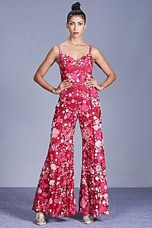 Hot Pink Embroidered Jumpsuit by Mishru-MISHRU