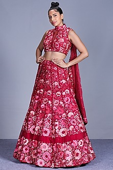 Hot Pink Embroidered Lehenga Set by Mishru