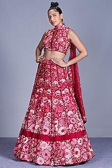 Hot Pink Embroidered Lehenga Set by Mishru-MISHRU