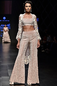 Beige Embroidered Cape With Crop Top & Pants by Mishru
