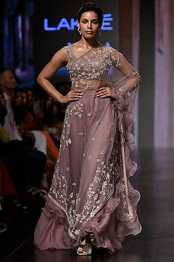 Mauve Pink Kalamkari Lehenga Skirt With Blouse & Cape by Mishru