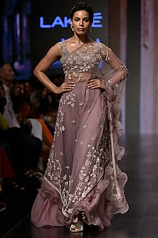 Mauve Pink Kalamkari Lehenga Skirt With Blouse & Cape by Mishru