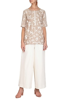 Beige Thread Embroidered Kurta With White Culotte Pants by Mishru