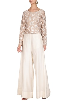 Beige Thread Embroidered Boxy Top With White Pants by Mishru