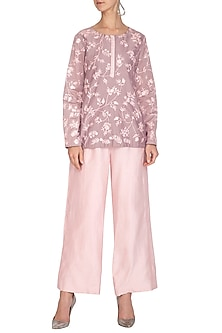 Mauve Embroidered Kurta With Blush Pink Culotte Pants by Mishru
