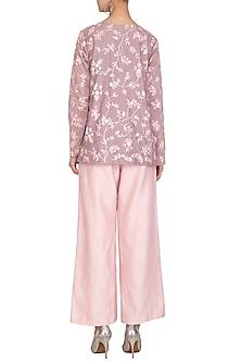 Mauve Embroidered Kurta With Blush Pink Culotte Pants by Mishru