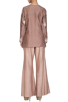 Mauve Grey Embroidered Kurta With Beige Pants by Mishru