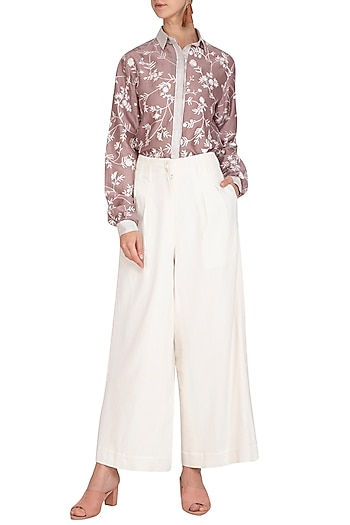 Mauve Embroidered Shirt With Off White Culotte Pants by Mishru