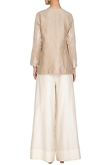 Beige Embroidered Kurta With Off White Pants by Mishru