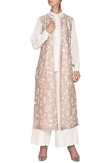 Beige Embroidered Jacket With White Shirt & Culotte Pants by Mishru