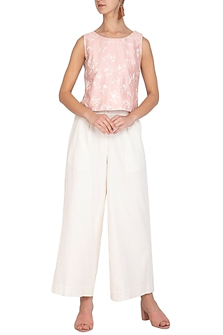 Blush Pink Embroidered Boxy Top With Off White Culotte Pants by Mishru