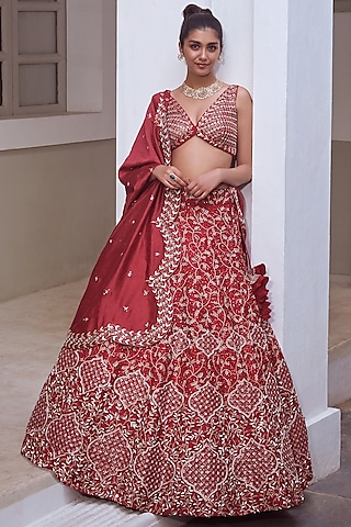 Deep Red Embroidered Bridal Lehenga Set by Mishru