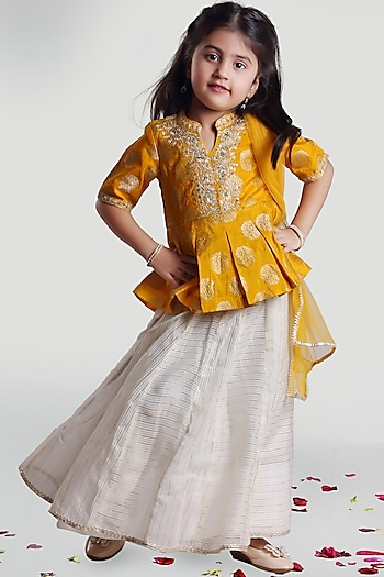 Yellow & White Skirt Set With Can-Can by Mini Chic