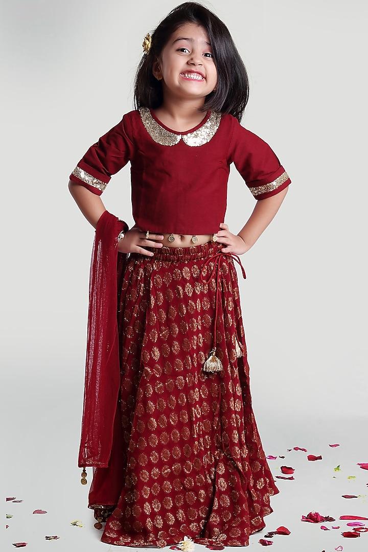 Maroon Circular Skirt Set by Mini Chic