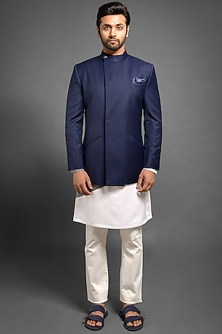 Navy Blue Embroidered Jodhpuri Jacket  by Mitesh Lodha