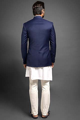 Navy Blue Jodhpuri Jacket With Pockets by Mitesh Lodha