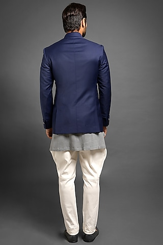 Navy Blue Jodhpuri Jacket With Gauntlet Cuffs by Mitesh Lodha