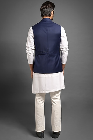 Navy Blue Embroidered Sadri Jacket by Mitesh Lodha
