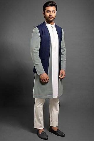 Navy Blue Embroidered Wool Sadri Jacket by Mitesh Lodha