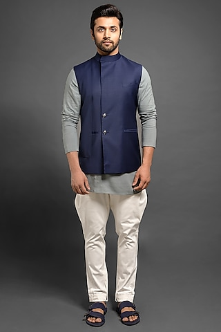 Navy Blue Sadri Jacket With Cross Style Flap by Mitesh Lodha