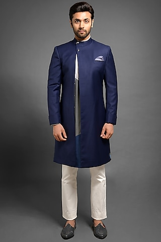 Navy Blue Sherwani With Convertible Overlap by Mitesh Lodha