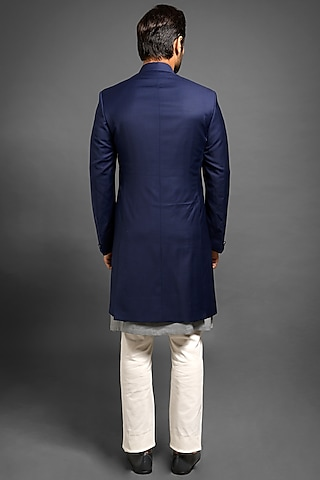 Navy Blue Achkan Jacket With Metal Buttons by Mitesh Lodha