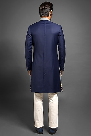 Navy Blue Sherwani With Box Pleats by Mitesh Lodha
