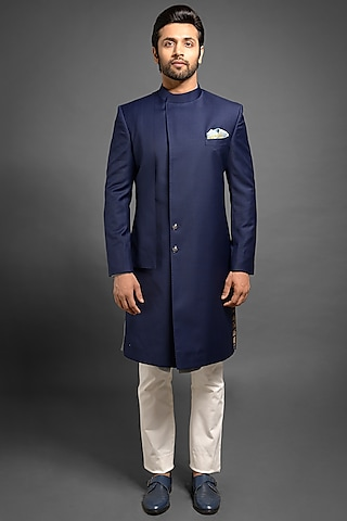 Navy Blue Sherwani With An Overlap by Mitesh Lodha