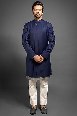 Navy Blue Sherwani With A Long Flap by Mitesh Lodha