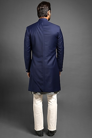 Navy Blue Sherwani With A Long Flap by Mitesh Lodha