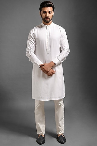 White Embroidered Kurta by Mitesh Lodha